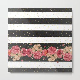 Modern black stripes gold faux glitter floral Metal Print