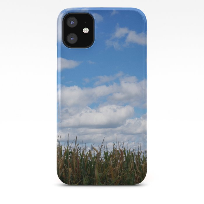 Corn Field In Autumn With Popcorn Clouds Iphone Case By Rvjdesigns