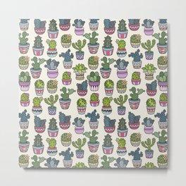 Trendy modern bohemian purple green floral cactus pattern Metal Print