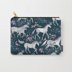 Unicorns and Stars on Dark Teal Carry-All Pouch