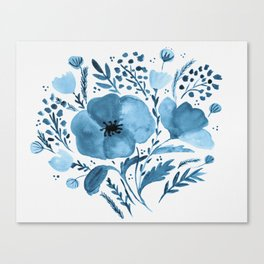 Flower bouquet with poppies - blue Canvas Print