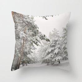 """Snow pines"". At the mountains Throw Pillow"