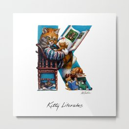 Kitty Literates Metal Print