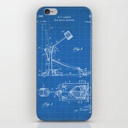 Drum Pedal Patent - Drum Set Art - Blueprint iPhone Skin