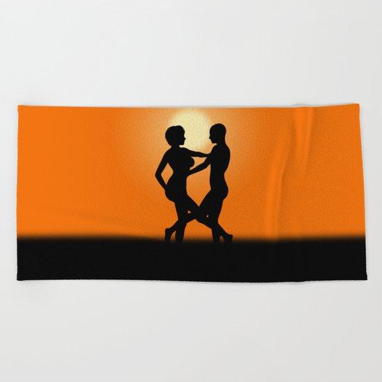 Sunset Dancing Lovers Beach Towel