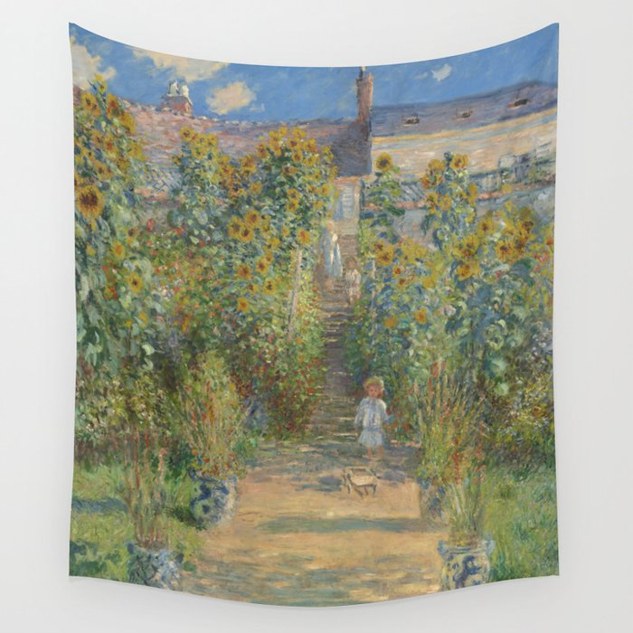 Claude Monet The Artistu0027s Garden At Vétheuil 1880 Painting Wall Tapestry