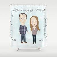 wedding Shower Curtains featuring wedding by mondebettina