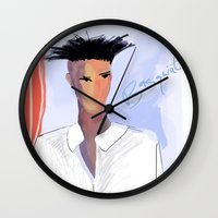 basquiat Wall Clocks featuring Basquiat  by lindseybaker