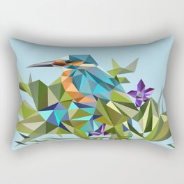 Common Kingfisher (halcyon) in Triangles Rectangular Pillow