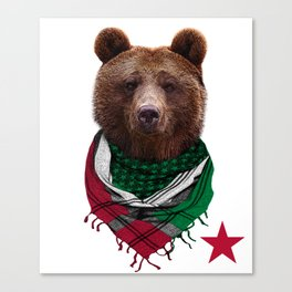 California Republic Bear Men's and Women's T-Shirt Canvas Print