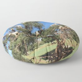 Goats in a tree Floor Pillow