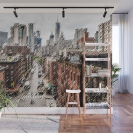 Chinatown, New York City Landscape Painting by Jeanpaul Ferro Wall Mural