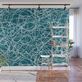 Pale Blue Thick Scribble Mosaic Pattern on Tropical Dark Teal Inspired by Sherwin Williams 2020 Trending Color Oceanside SW6496 Wall Mural