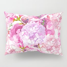 Hand painted pink lavender watercolor hortensia floral Pillow Sham