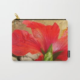 Back Of A Red Hibiscus Flower Against Stone Carry-All Pouch