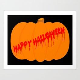Totaly Evil Halloween Pumpkin Art Print