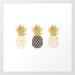 fun pineapple design gold Art Print