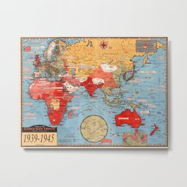 Map Of World War 2 Metal Print
