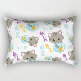 Kittens With Fish Bowls, Cat Pattern, Fishes Rectangular Pillow