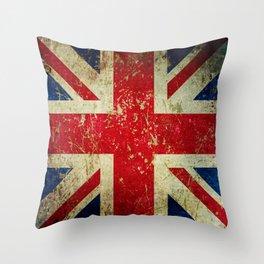 Grunge Scratched Metal Union Jack / British Flag Throw Pillow