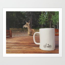 Coffee with a Deer Friend Art Print