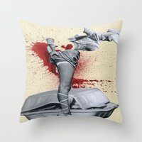 medicine Throw Pillows featuring Bad medicine by Oscar Varona