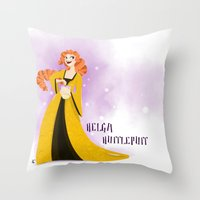 hufflepuff Throw Pillows featuring Helga Hufflepuff by Hailey Del Rio