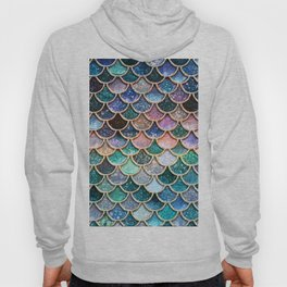 Multicolor Pink And Aqua Mermaid Scales - Beautiful Abstract Glitter Pattern Hoody