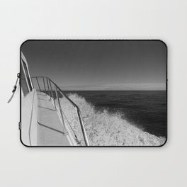 Sailing in the wind through the waves, Boat, Black and White photography #Society6 Laptop Sleeve