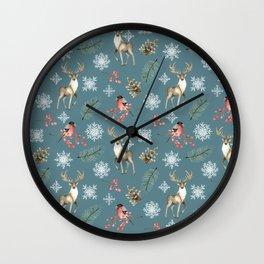 Xmas Pattern Teal #socieyt6 #buyart Wall Clock
