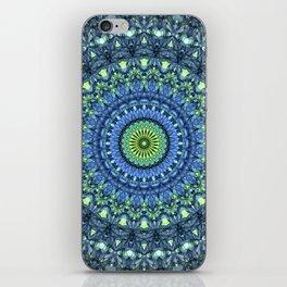 Mandala in light blue and green tones iPhone Skin