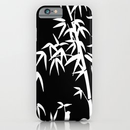 Bamboo Leaves White - black background iPhone Case