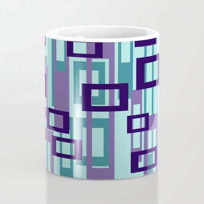 Geometric rectangles pattern violet Coffee Mug