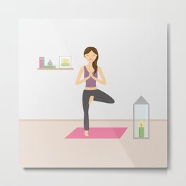 Yoga Girl In Tree Pose Cartoon Illustration Metal Print
