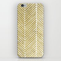 gold foil iPhone & iPod Skins featuring Gold Foil Chevron by Berty Bob