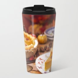 III - Homemade pumpkin pie on a rustic table with autumn decorations Travel Mug