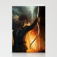katniss Stationery Cards featuring Katniss Everdeen by Emily Doyle