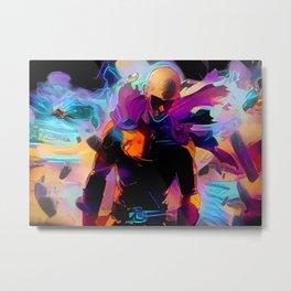 Neon Saitama-One Punch Man Metal Print