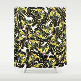 tiger swallowtail butterfly pattern graphic white Shower Curtain