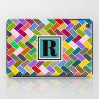 monogram iPad Cases featuring R Monogram by mailboxdisco