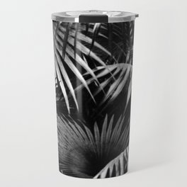 Tropical Botanic Jungle Garden Palm Leaf Black White Travel Mug