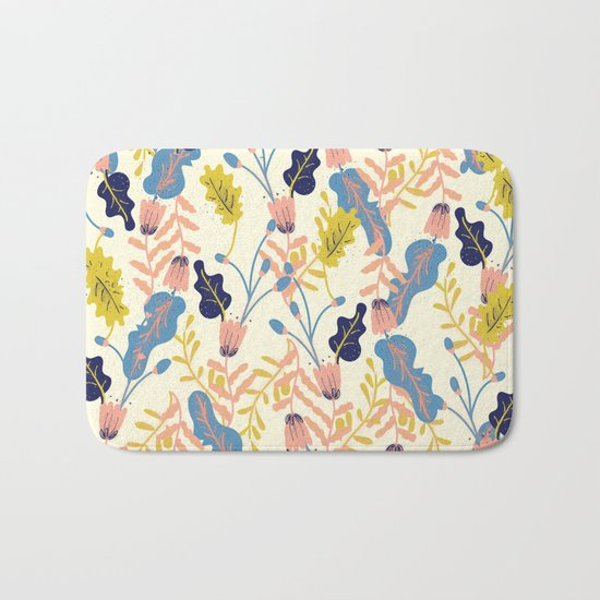 Pastel Floral Pattern Bath Mat