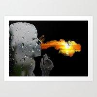 'Exhale' Double Exposure Digital Art Art Print