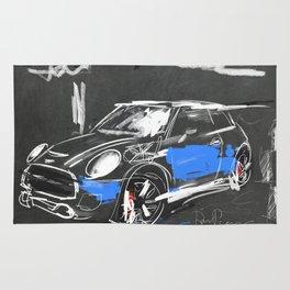 Scribble mini car on chalkboard Rug