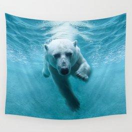 Polar Bear Swimming Wall Tapestry