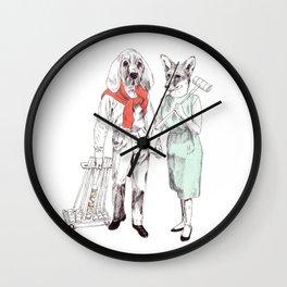 Bestial cricket couple Wall Clock