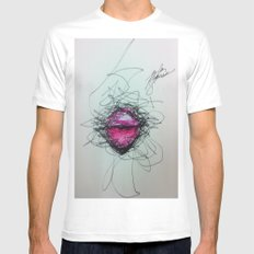 Lips MEDIUM White Mens Fitted Tee