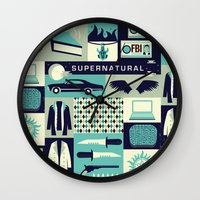 risa rodil Wall Clocks featuring Carry on my wayward son by Risa Rodil