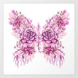 Flowery Pink Princess Butterfly Art Print