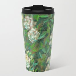 White roses, green leaves Travel Mug